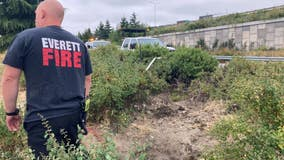 No person found in apparent man-made tunnel under I-5 off-ramp in Everett