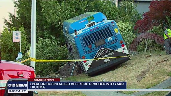 Bus crashes into Tacoma front yard
