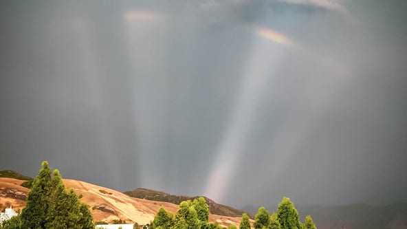 Stunning 'rainbow spoke' spotted after thunderstorm in Utah