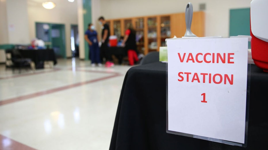COVID vaccine station