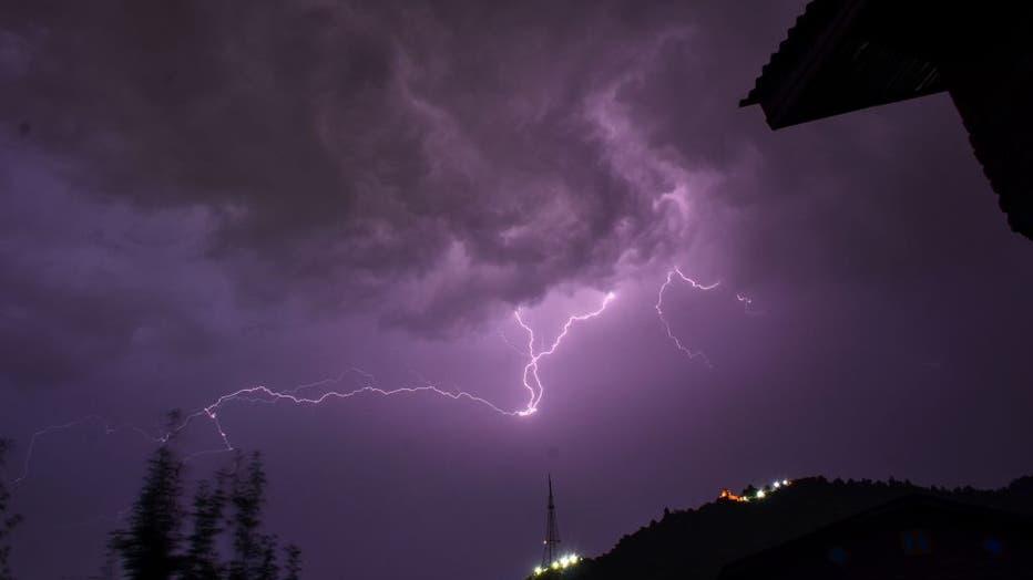 Lightning strikes during a thunderstorm in Srinagar