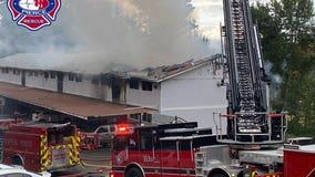 Three-alarm fire burns apartment building in Edgewood