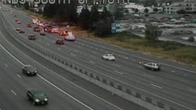 WSP looking for driver after car crashes, catches fire in Fife