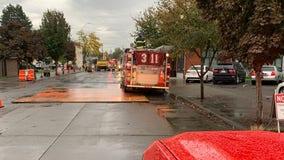 Gas line break forces evacuations at Renton High School