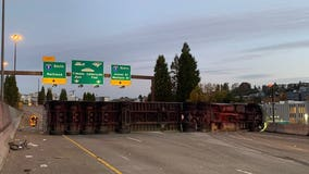 I-90 reopens in Seattle after semi rollover snarls morning commute
