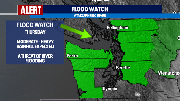 Flooding concerns as an atmospheric river hits Washington tonight and Thursday