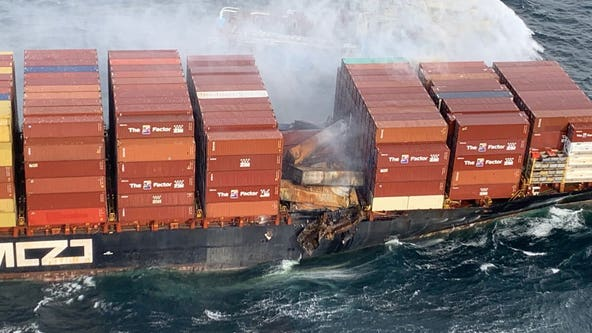 Canadian, U.S. Coast Guard working to recover shipping containers knocked into Pacific Ocean