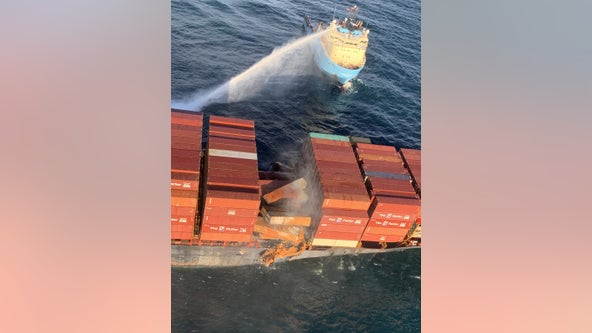 106 shipping containers floating in Pacific Ocean following bomb cyclone, cargo ship fire