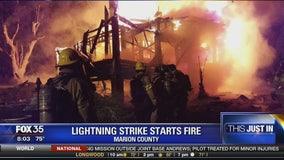 Lightning strike starts fire