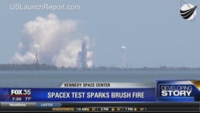 SpaceX test sparks brush fire