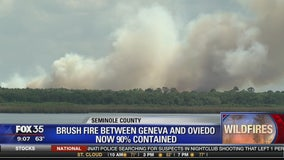 Brush fire between Geneva and Oviedo now 90% contained