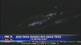 Beer, potato chip truck crash