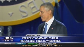 President Obama holds first public event since leaving office