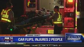 Car flips, injures 2 people