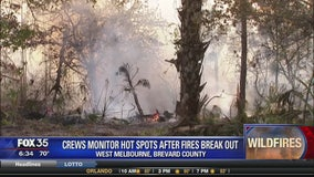 Crews monitor hot spots after fires break out