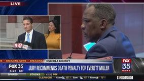 Reaction to jury verdict of death in Everett Miller case