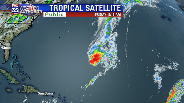 Tropical Storm Sebastien becoming less organized