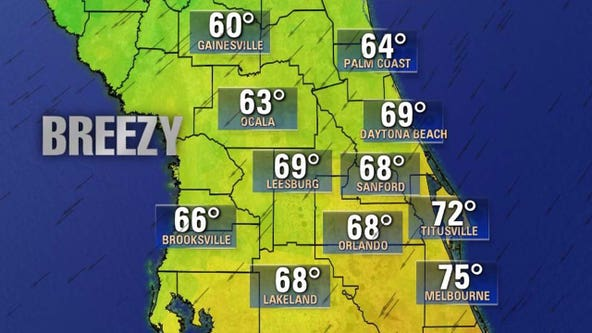 Highs to only reach the 60s for much of Central Florida as cold front moves through