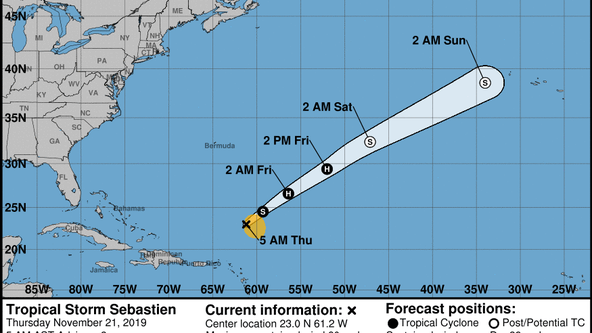 Tropical Storm Sebastien forecast to strengthen over the central Atlantic Ocean