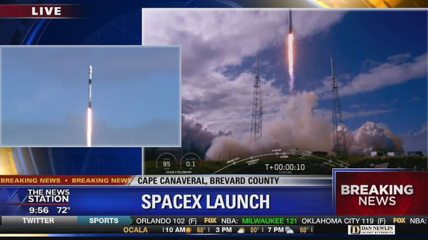 SpaceX launches their Falcon 9 rocket from Cape Canaveral