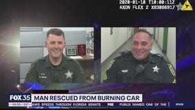Man meets Orange County deputies who saved him from burning car
