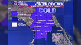 Freeze warnings, watches issued as temperatures plummet in Central Florida