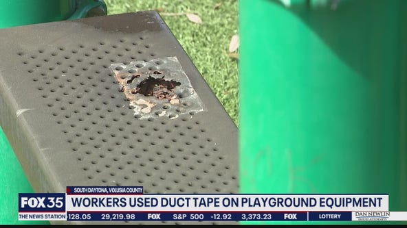 Workers used duct tape on playground equipment