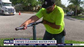 Crews cleaning out water pipes in St. Cloud through 'ice pigging' method