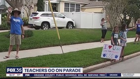 Teachers from one elementary school go on parade