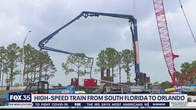 High-speed train from South Florida to Orlando on track