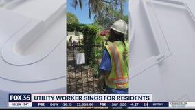 Utility worker sings for residents