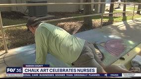 Chalk art celebrates nurses