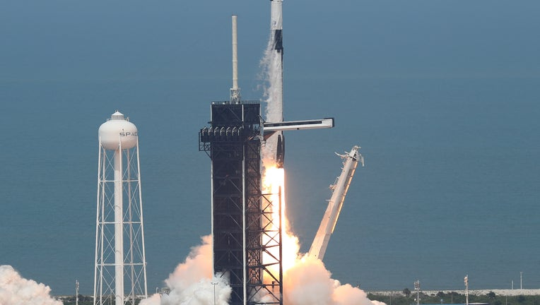 2f7dc48b-SpaceX Falcon-9 Rocket And Crew Dragon Capsule Launches From Cape Canaveral Sending Astronauts To The International Space Station