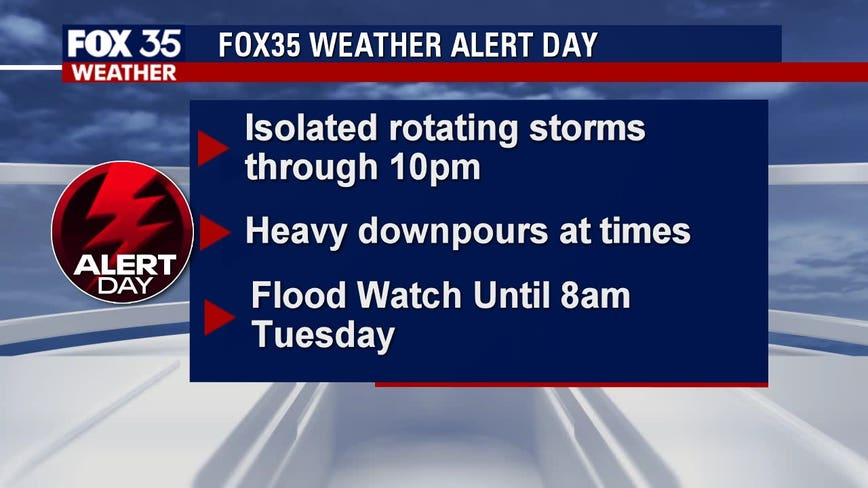 FOX 35 Weather Alert Day: Showers continue into evening, flooding and storms possible