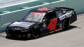 NASCAR driver Kyle Weatherman debuts 'Back the Blue' vehicle at Florida race