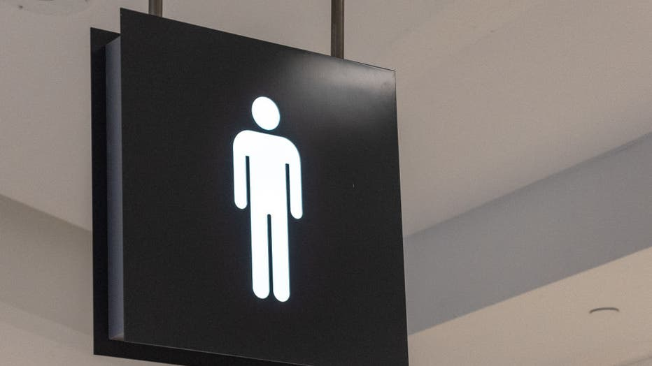 Public washroom or bathroom sign marking the facility is to