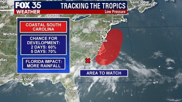 Area of low pressure has 60-percent chance of developing along South Carolina coast