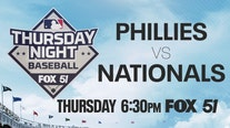 Philadelphia Phillies visit the Washington Nationals Thursday night on FOX 51