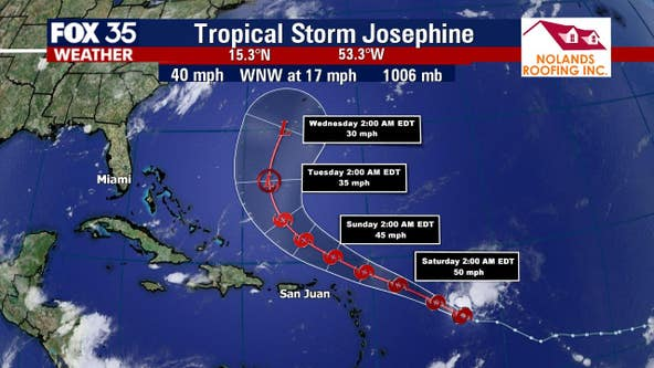 Tropical Storm Josephine to strengthen, no impact on Florida expected