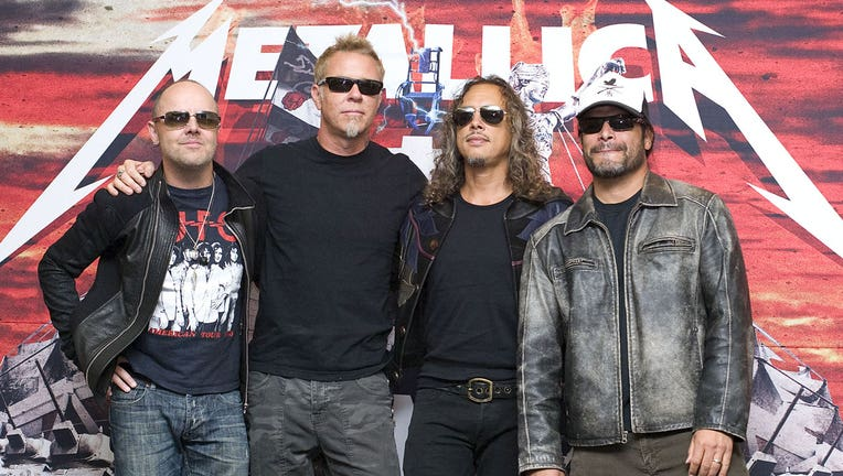 27e2030e-Lars Ulrich (L), James Hetfield (CL),Kirk Hammett (CR) and Robert Trujillo of Metallica are shown in a file photo from 2012. (Photo by Angel Delgado/Clasos.com/LatinContent via Getty Images)