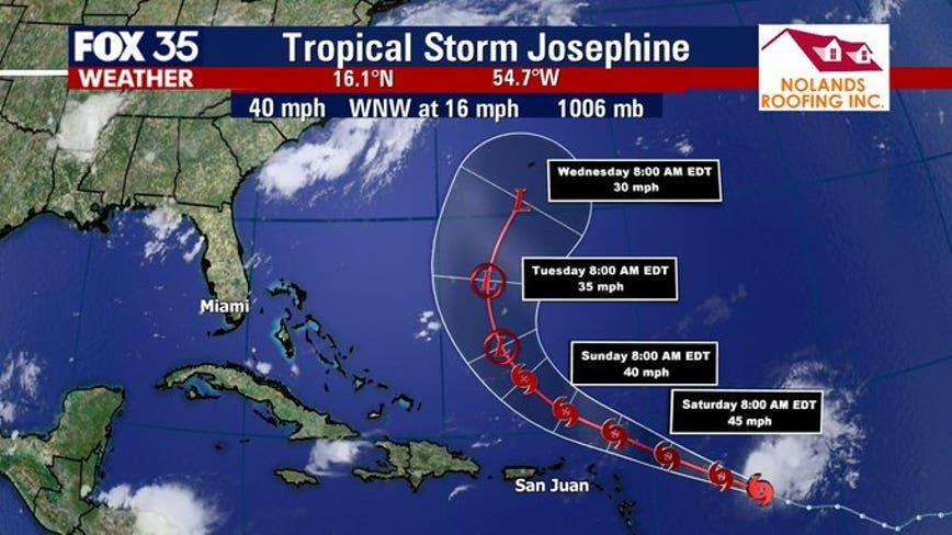 Tropical Storm Josephine to strengthen, second system closer to U.S. being watched