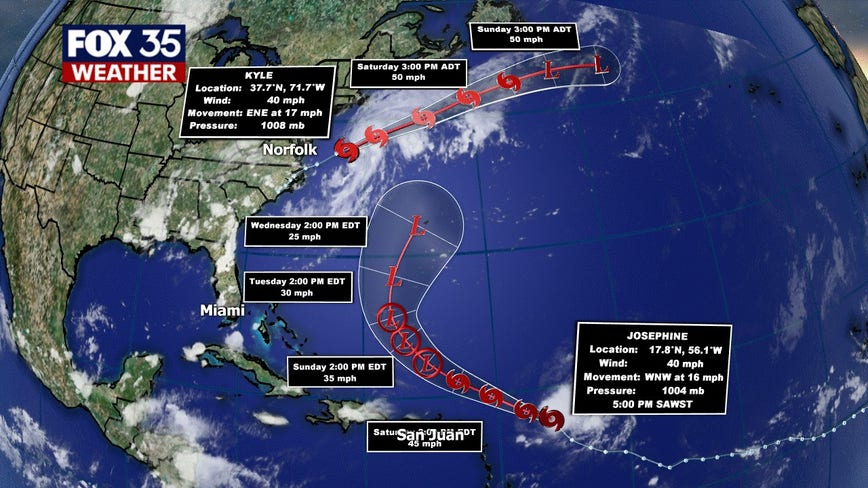 Tropical Storm Kyle forms; Josephine expected to strengthen