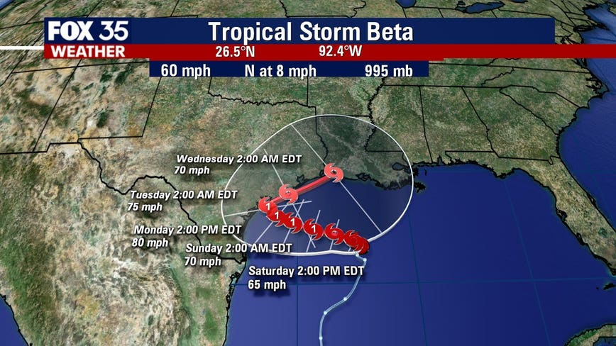 Tropical Storm Beta expected to strengthen, Teddy to affect east coast beaches