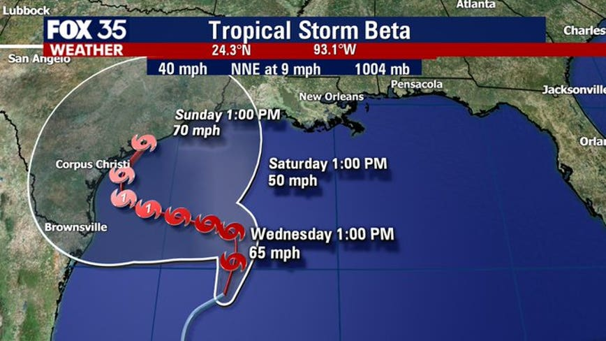 Tropical Storm Beta forms in Gulf; Alpha making landfall in Portugal