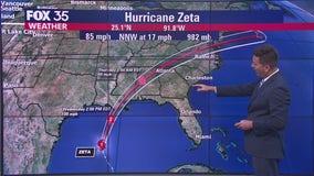 Zeta restrengthens into a hurricane