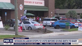 Woman in labor stops to vote before giving birth