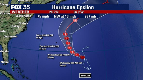 Epsilon strengthens into hurricane as it approaches Bermuda