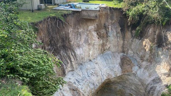 Florida home in danger after 75-ft wide, 45-ft deep sinkhole opens