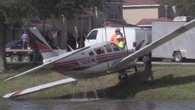 Small plane pulled from pond