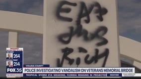 Police investigate vandalism at Veterans Memorial Bridge